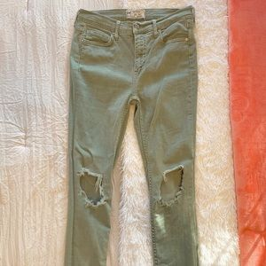 Free people skinny jeans in washed green
